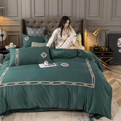 2020新款-天丝提花蕾丝刺绣四件套 1.5m床单款四件套 天丝提花-墨绿