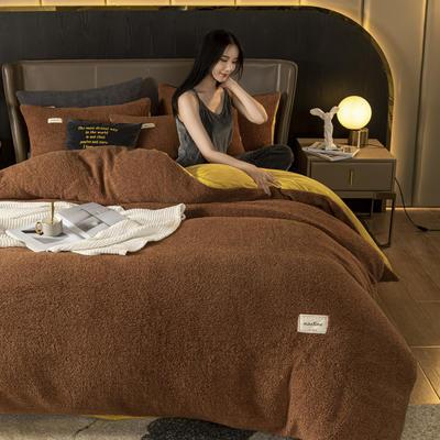 2020新款-羊羔绒水晶绒四件套 1.2m床单款三件套 栗子棕