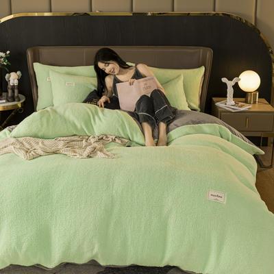 2020新款-羊羔绒水晶绒四件套 1.2m床单款三件套 抹茶绿