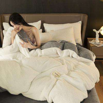2020新款-羊羔绒水晶绒四件套 1.2m床单款三件套 奶油白