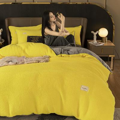 2020新款-羊羔绒水晶绒四件套 1.2m床单款三件套 柠檬黄