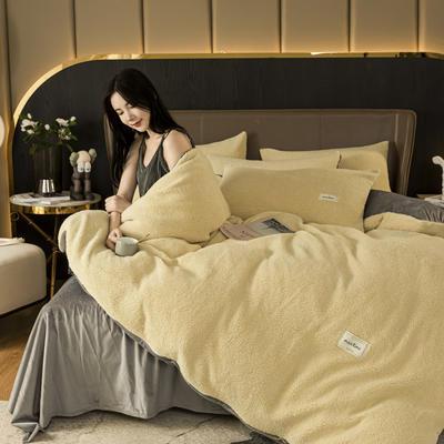 2020新款-羊羔绒水晶绒四件套 1.2m床单款三件套 优雅黄