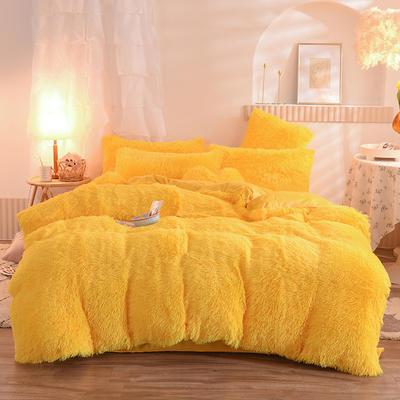 2020新款-水貂绒四件套 1.5m床单款四件套 水貂绒-亮黄