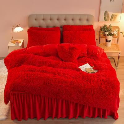 2021年床裙款水貂绒水晶绒长毛绒四件套 180*200cm床裙款四件套 大红