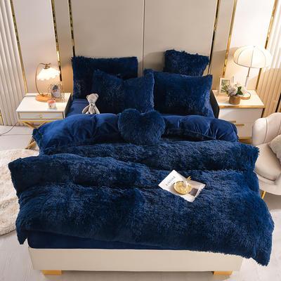 2021新款床单床笠水貂绒四件套 1.8米床单款四件套 藏青