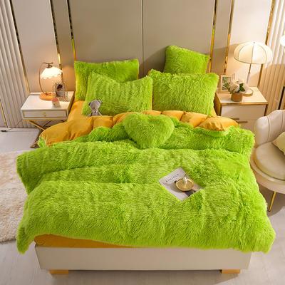 2021新款床单床笠水貂绒四件套 1.8米床单款四件套 草绿