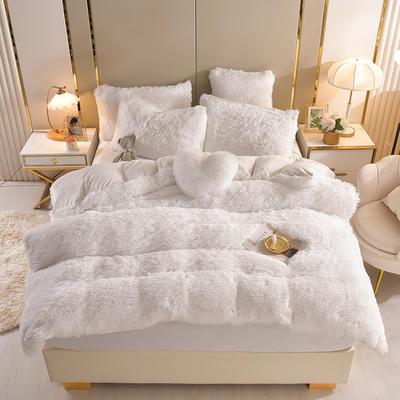2021新款床单床笠水貂绒四件套 1.8米床单款四件套 纯白