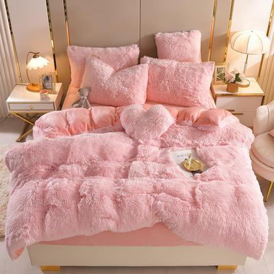 2021新款床单床笠水貂绒四件套 1.8米床单款四件套 典雅粉