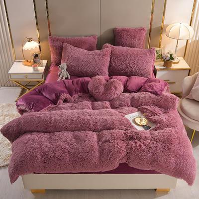2021新款床单床笠水貂绒四件套 1.8米床单款四件套 豆沙