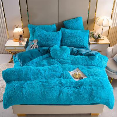 2021新款床单床笠水貂绒四件套 1.8米床单款四件套 湖蓝