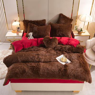 2021新款床单床笠水貂绒四件套 1.8米床单款四件套 咖啡