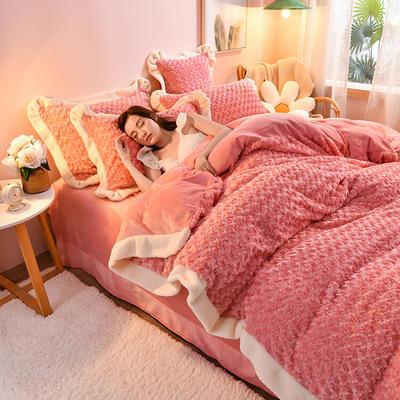 2021新款牛奶绒兔毛绒剪花工艺款四件套 1.2米床单款三件套 玫瑰花语一玉色