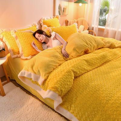 2021新款牛奶绒兔毛绒剪花工艺款四件套 1.2米床单款三件套 玫瑰花语一蜜黄