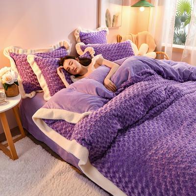 2021新款牛奶绒兔毛绒剪花工艺款四件套 1.5米床单款四件套 玫瑰花语一紫罗兰