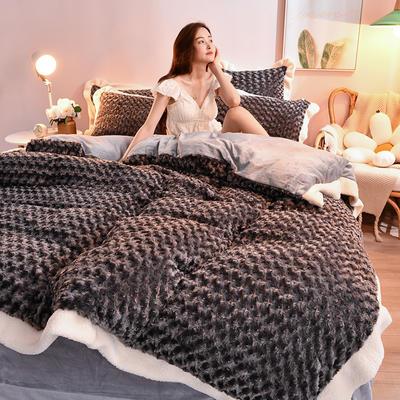 2021新款牛奶绒兔毛绒剪花工艺款四件套 1.2米床单款三件套 玫瑰花语一高级灰