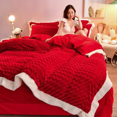 2021新款牛奶绒兔毛绒剪花工艺款四件套 1.2米床单款三件套 玫瑰花语一大红