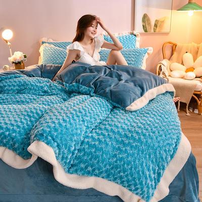 2021新款牛奶绒兔毛绒剪花工艺款四件套 1.2米床单款三件套 玫瑰花语一翠蓝