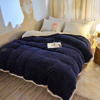 新款多功能可拆洗被子被套毯A版金貂绒B版贝贝绒 150x200cm单被套 1.8*2.2m 藏青
