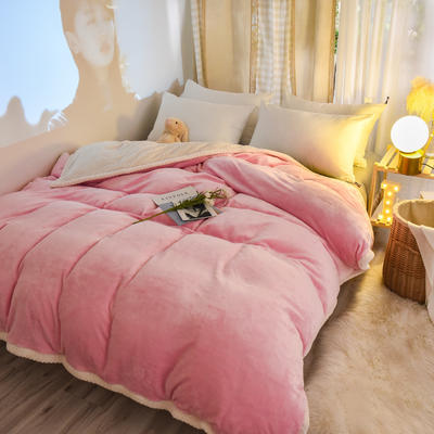 新款多功能可拆洗被子被套毯A版金貂绒B版贝贝绒 150x200cm单被套 1.5*2.0m 粉色