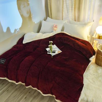 新款多功能可拆洗被子被套毯A版金貂绒B版贝贝绒 150x200cm单被套 1.8*2.2m 酒红