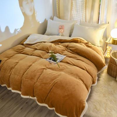 新款多功能可拆洗被子被套毯A版金貂绒B版贝贝绒 150x200cm单被套 1.8*2.2m 驼色