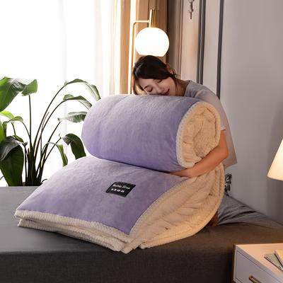 新款多功能可拆洗被子被套毯A版金貂绒B版贝贝绒 150x200cm单被套 1.8*2.2m 浅紫