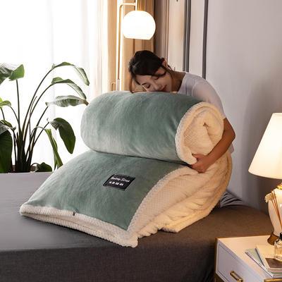 新款多功能可拆洗被子被套毯A版金貂绒B版贝贝绒 150x200cm单被套 1.8*2.2m 豆绿