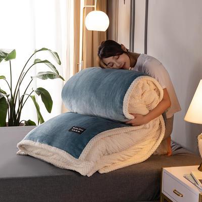新款多功能可拆洗被子被套毯A版金貂绒B版贝贝绒 150x200cm单被套 1.8*2.2m 灰蓝