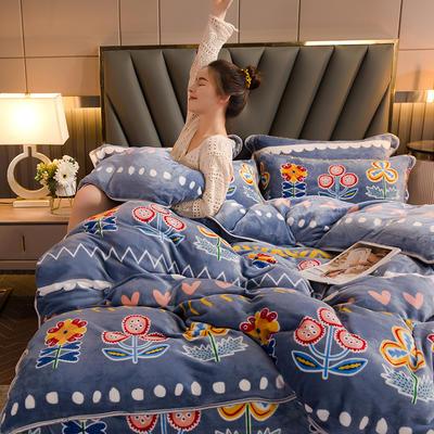 2020新款保暖加厚牛奶絨四件套 1.2m床裙款三件套 波西米亞
