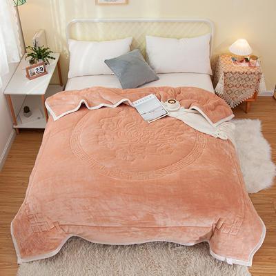 2020新款大版花款毛毯毯子冬毯 150cmx200cm毛毯 中国风香槟