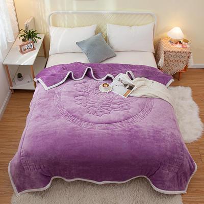 2020新款大版花款毛毯毯子冬毯 150cmx200cm毛毯 中国风紫