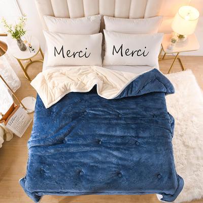 2020新款梅花抗菌毯毛毯毯子 150cmX200cm毯子 蓝