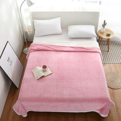 2020新款梅花系列双层贝贝绒毯毯子 150cmx200cm毛毯 粉