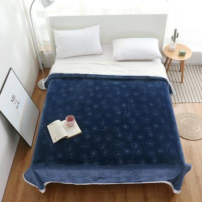 2020新款梅花系列双层贝贝绒毯毯子 150cmx200cm毛毯 蓝