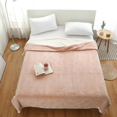 2020新款梅花系列双层贝贝绒毯毯子 150cmx200cm毛毯 香槟