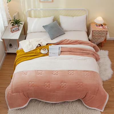 2020新款色拼系列毛毯毯子 150cmx200cm毛毯 暖阳毯香槟