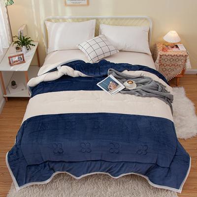 2020新款色拼系列毛毯毯子 150cmx200cm毛毯 暖阳毯蓝