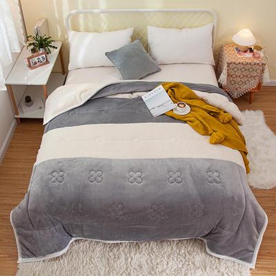 2020新款色拼系列毛毯毯子 150cmx200cm毛毯 暖阳毯灰