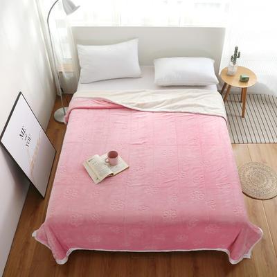 2020新款小雏菊双层贝贝绒毯 150cmx200cm毛毯 粉