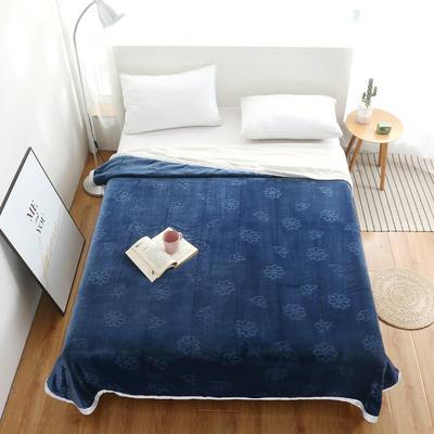 2020新款小雏菊双层贝贝绒毯 150cmx200cm毛毯 蓝
