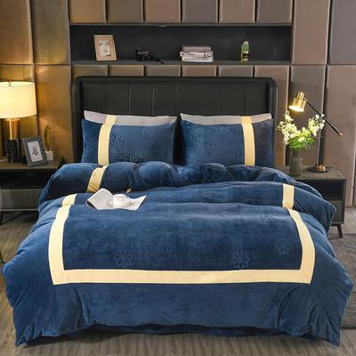 2020新款双拼角系列水晶绒四件套套件 1.5m床单款四件套 蓝