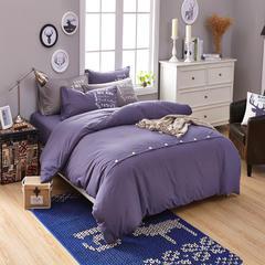 靓居家纺      纯色活性磨毛美式纽扣款 1.0m(3.3英尺)床 烟熏紫