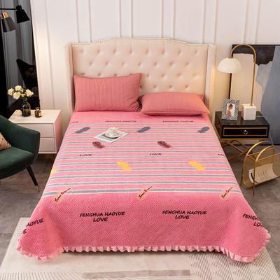 2020新款立体绗缝舒适保暖法莱绒水晶绒宝宝绒牛奶绒床盖单品 200cmx230cm 叶影飘香