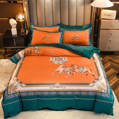 2020新款针织棉+水晶绒大版印花四件套 1.8m床单款四件套 爱玛-橙