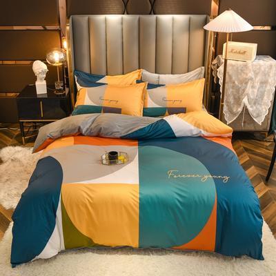 2020新款针织棉+水晶绒大版印花四件套 1.8m床单款四件套 格调
