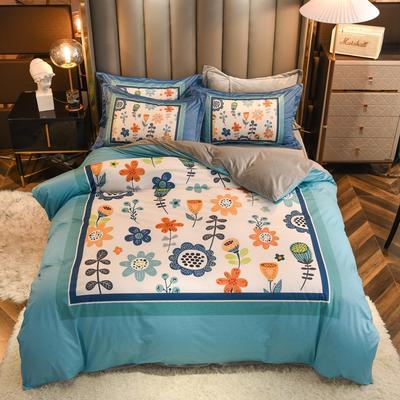 2020新款针织棉+水晶绒大版印花四件套 1.8m床单款四件套 陌上花开