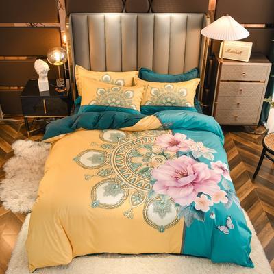 2020新款针织棉+水晶绒大版印花四件套 1.8m床单款四件套 思谨