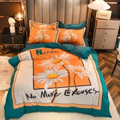 2020新款针织棉+水晶绒大版印花四件套 1.8m床单款四件套 向阳花