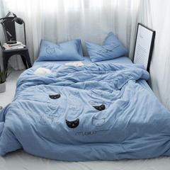 小清新四件套 个性绣花猫咪被套 天竺棉裸睡床品 四件套一件代发 2.0m(6.6英尺)床 蓝猫