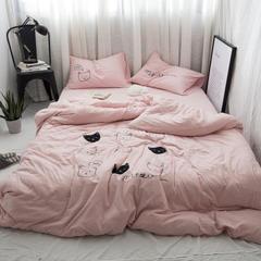 小清新四件套 个性绣花猫咪被套 天竺棉裸睡床品 四件套一件代发 2.0m(6.6英尺)床 粉猫